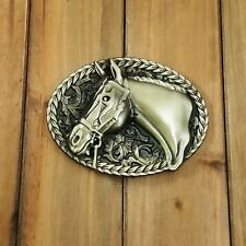 BRONZE HORSE HEAD METAL BELT BUCKLE COWBOY & WESTERN ANIMAL CHARRO CABALLO #109