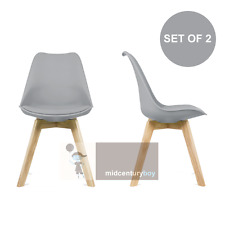 set of 2 mid century modern DSW gray dining chair seat cushion wood.eames,esque