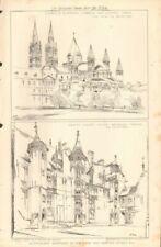 Antique (Pre - 1900) Lithograph Architecture Art Prints