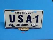 CHEVROLET USA-1 ALUMINUM LICENSE PLATE EMBOSSED CAR TAG SEE AMERICA FIRST