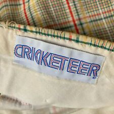Vtg 1970s Cricketeer Plaid Seersucker Pants Mens 34 x 30 Yellow Blue Red White