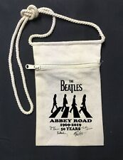 """Small Zipper Canvas Tote Bag Canvas Vintage The Beatles Abbey Road 6"""" x 9"""""""