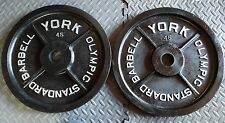 """Vintage York Barbell Olympic Milled 45 lb 45 Pounds Weight Plates Pair 2"""" Lb lbs"""