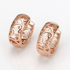 Beautiful New Rose Gold Filled Shiny Scroll Cutout Huggie Hoop Earrings