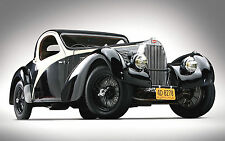 "1938 Bugatti Type 57sc Atlantic Coupe Black Classic - 17""x 22"" Art Print - 00187"