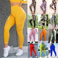Womens High Waist Yoga Pants Fitness Leggings Push Up 3D Printed GYM Trousers LC