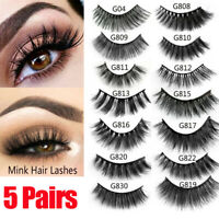 5 Pairs 3D Real Mink Hair False Eyelashes Extension Wispy Fluffy Think Lashes