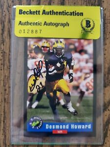 DESMOND HOWARD Rookie AUTO 1992 CLASSIC #1 BECKETT Authenticated