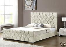 Diamond Upholstered Fabric Bed Frame Velvet Chenille Double King Size