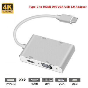 Type-C USB-C to HDMI DVI VGA USB 3.0 Cable Adapter For Laptop Notebook