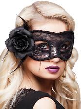 Venezianische Maske mit Blume schwarz NEU - Karneval Fasching Maske Gesicht