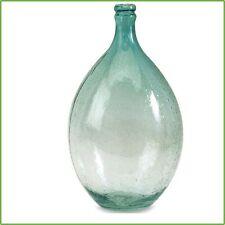 13.5 In Bubble Glass Blue Clear Bottle Decorative Sculpture Tabletop Accent Vase