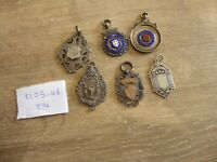 6 ANTIQUE SOLID SILVER HALLMARKED FOBS / MEDALS