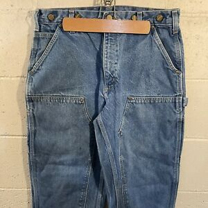 Vintage Distressed CARHARTT B07 DNM 34x30 Double Front Dungaree Logger Jeans