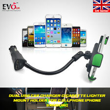 360° Dual USB Cigarette Lighter Socket Car Charger Mount Holder for Cell Phone
