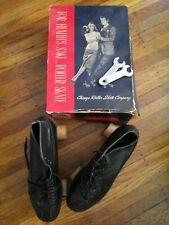 Vintage Pair Mens Size 9 Roller Chicago Shoe Skates Black Leather Original Box