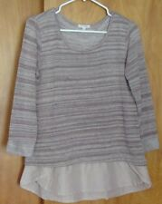 Women's AVA JAMES 2-Tier Top Shirt Blouse M 3/4 sleeves Pink Mauve Striped