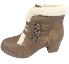 Womens Ladies Khaki Faux Leather Mid Heel Winter Shoes Ankle Boots Size UK 7 New