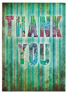 Thank You Greetings Card Blank Green For Her/Him/Friend- UK Made- Free P&P