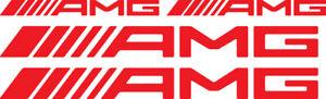 Adesivi AMG Mercedes Benz logo tuning stickers cofano laterale rossi vinile pz 4
