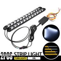 2x 32CM Phare Headlight LED Lampe Clignotants + DRL Feux de Jour Blanc Amber 12V