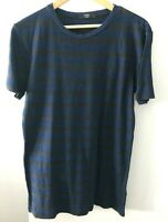 Saba Men's size S Navy and Brown Striped Short Sleeve Cotton T-Shirt
