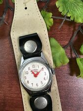 Vintage US Time Ingersoll Mickey Mouse Watch W/RETRO Leather Band