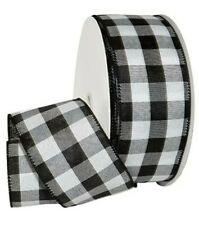 "🖤 5 YARDS ~ 2.5"" W Black & White Buffalo Check Wired Ribbon"