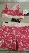 NWT lot Girls size M UNDER ARMOUR gym yoga pink shorts & top heat gear upf 30