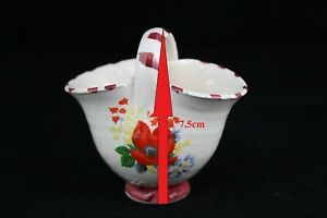 Basket Of Porcelain Miniature Flower Houses Kitchens Juguete. Years 70