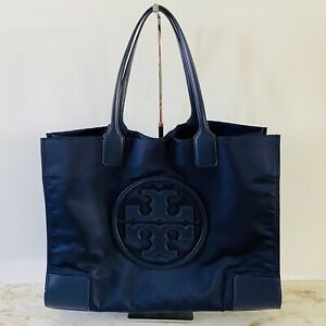 TORY BURCH Solid Blue Ella Large Nylon Tote Bag Large Logo