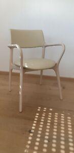 Design Stuhl - Einzelstuhl - Eyecatcher - Leder Creme