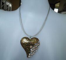 Collier fantaisie strass coeur métal doré léopard panthère gold heart necklace