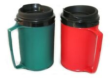 2 Foam Insulated 12oz ThermoServ Travel Mugs Red Green