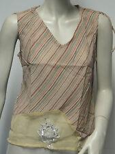 TEE SHIRT FEMME RAYE SAUMON TAILLE L 100% COTON FIN  STRASS MARQUE CHAITANYA