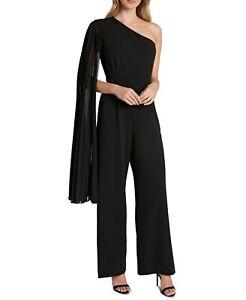 Tahari By ASL Womens Jumpsuit Black US Size 14 Chiffon One Shoulder $188- 264
