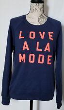 Victorias Secret Supermodel Essential Neon Love A La Mode Crew Sweatshirt M Blue