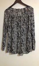 Hoss Silk  Animal Print Long Sleeved Blouse Size 12