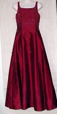 JIANINI RED BEADED BURGUNDY SLEEVELESS FORMAL GOWN LONG DRESS SIZE:6 EXCELLENT!!