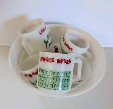 Vtg Xmas Hazel Atlas 7 Milk Glass Egg Nog Jingle Bells Music Punch Bowl 6 Mugs