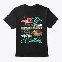 Retirement Plan Quilting Funny Flamingo Hanes Tagless Tee T-Shirt