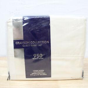 AQ Textiles QUEEN Sheet Set 950 TC Grayson Solid IVORY 312