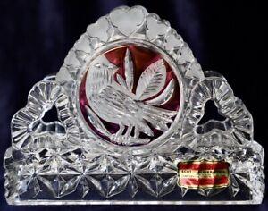 Vintage Hofbauer Red Byrdes Collection Crystal Napkin Holder
