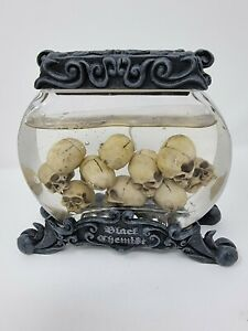 Rare Gothic Skulls glass Candle ornament - The black art by Ted Suluepe 16cm