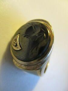 10K  Gold Men's Black Stone  Roman Centurion Soldier Ring, Size 9.1/2, 9.3 Grams