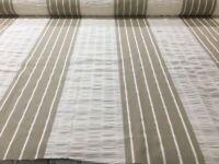 2.25 Metres Cream/Linen Striped Cotton 140cm wide Curtain/Craft Fabric