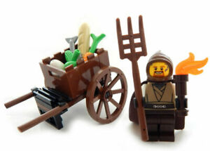 NEW LEGO PEASANT with CART medieval market castle minifig minifigure food