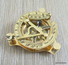 Nautical Brass Sundial Compass Vintage West London Marine Working Compass