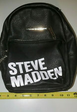 Steve Madden Text Graphic Black Backpack Faux Leather Bag Nice