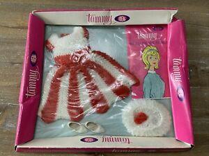 Vintage Tammy Doll Fashion NRFB  Box -  VGC RED KNIT Knack DRESS CROCHET 9094-4